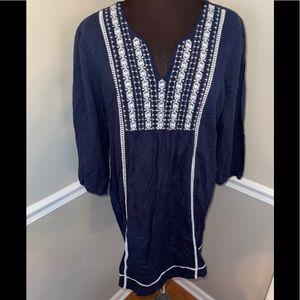 Tantrums women's navy blue dress boho sz XL